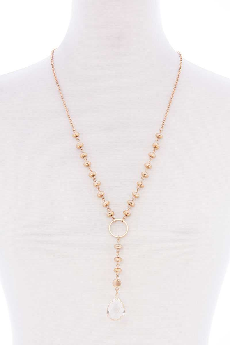 Ball Chain Y Neck Clear Pendant Long Necklace