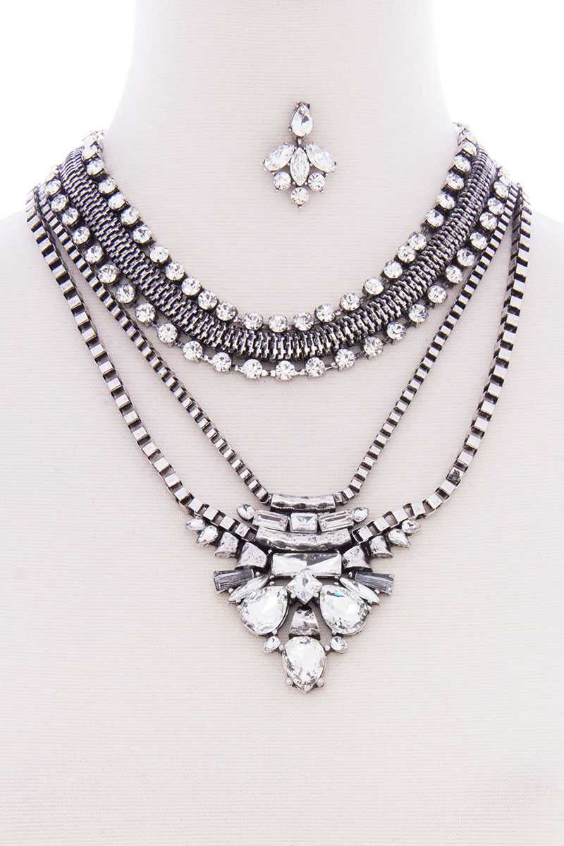 Chunky Antique Boho Bohemian Statement Necklace Earring Set