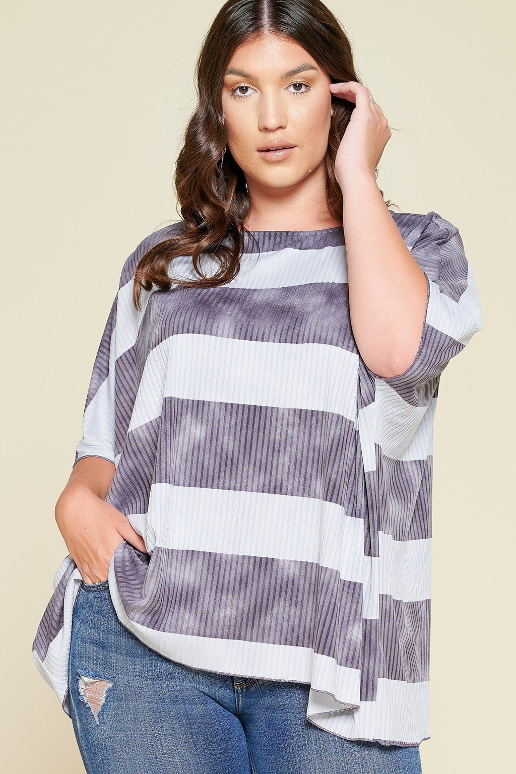 Stripe Printed Pleated Blouse Featuring A Boat Neckline And 1/2 Sleeves