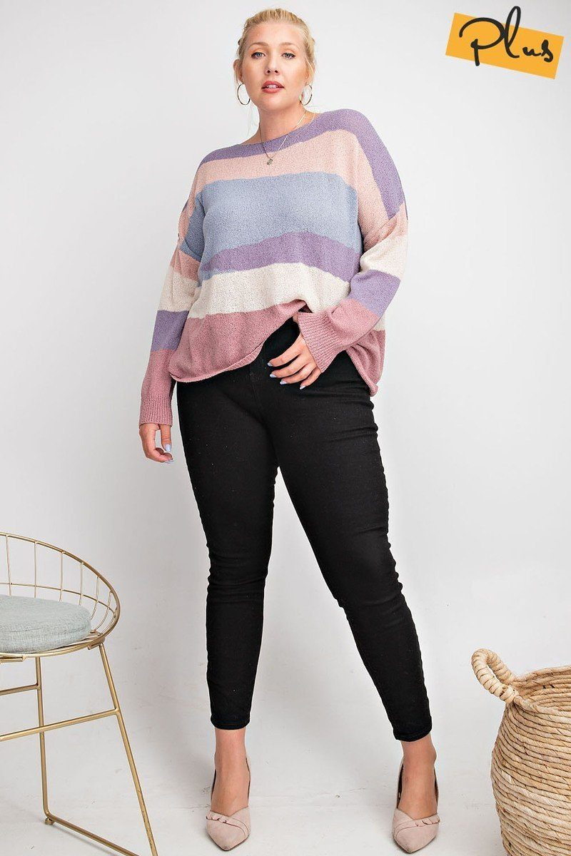 Striped Light Weight Knitted Sweater Top