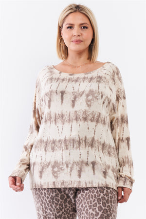 Plus Ivory Acid Wash Print Bateau Neck Relaxed Fit Long Sleeve Top