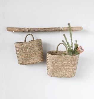 Seagrass Wall Baskets w/ Handle, Set of 2 - Baycreek & Co