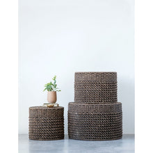 Black- Natural Woven Water Hyacinth Ottomans/Tables, Black, Set of 3 ***shipping only••• - Baycreek & Co