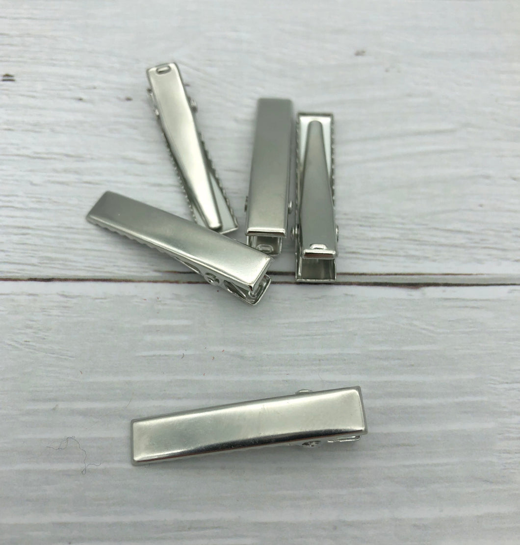 SILVER - 34mm PREMIUM Strong Flat Alligator Clips (with teeth)