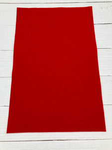 "BRIGHT RED - 12""x18"" Wool Blend Felt (Large Sheet)"