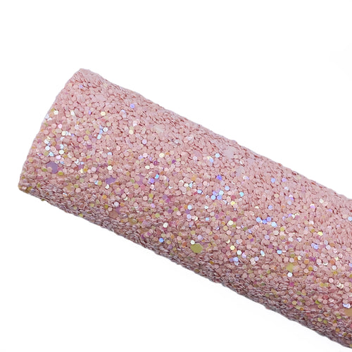 BALLET PINK SPARKLE - Chunky glitter fabric