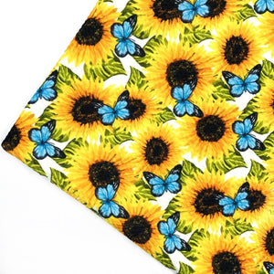 SUNFLOWERS & BUTTERFLIES - Custom Printed Bullet Liverpool Fabric