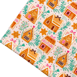 GINGERBREAD VILLAGE - Custom Printed Bullet Liverpool Fabric