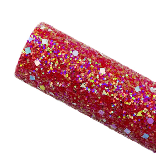 RED DAZZLE - Chunky glitter fabric
