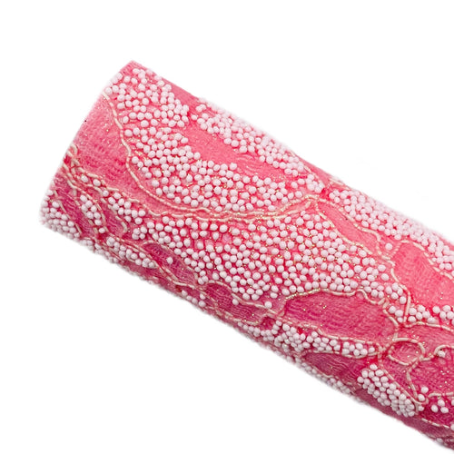PINK BEADED LACE - Glitter Fabric