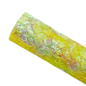 YELLOW TIE DYE LOVELY LACE - Glitter Fabric