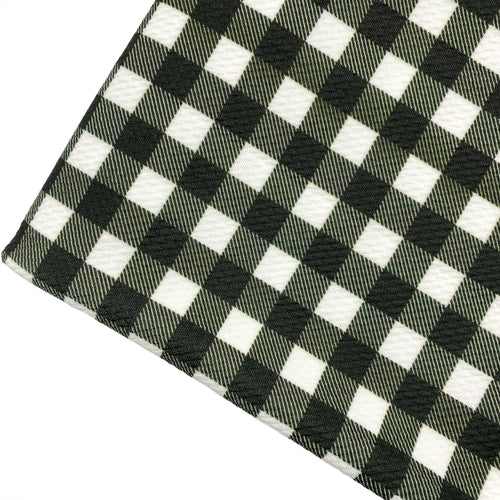 BLACK & WHITE BUFFALO PLAID - Custom Printed Bullet Liverpool Fabric