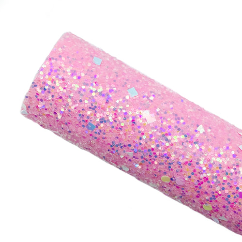 PINK DAZZLE - Chunky glitter fabric
