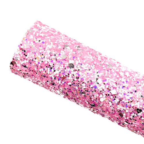 BUBBLEGUM PINK DIAMOND DAZZLE - Chunky glitter fabric