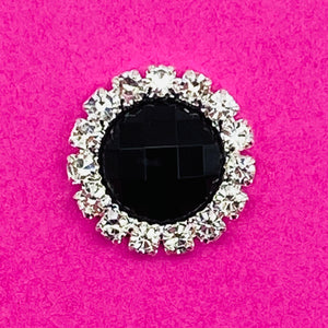 BLACK (ROUND) - Rhinestone Embellishments (15mm)