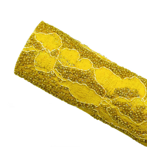 GOLDEN BEADED LACE - Glitter Fabric