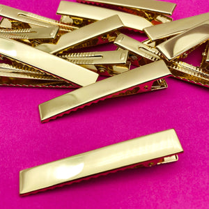 GOLD - 60mm PREMIUM Strong Flat Alligator Clips (with teeth)
