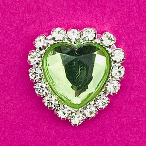 LIGHT GREEN (HEART) - Rhinestone Embellishments (18mm)