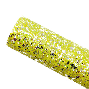 YELOW DIAMOND DAZZLE - Chunky glitter fabric
