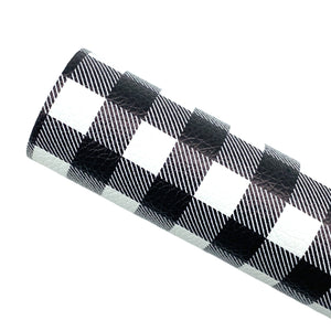 BLACK BUFFALO PLAID - Custom Printed Leather