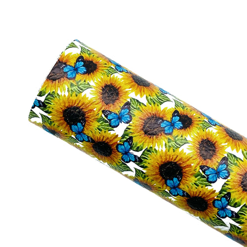 *PRE-ORDER* SUNFLOWERS & BUTTERFLIES - Custom Printed Leather