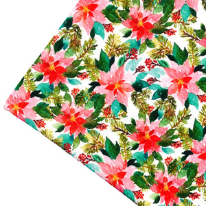 PINK POINSETTIAS - Custom Printed Bullet Liverpool Fabric