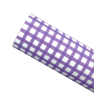 *PRE-ORDER*  PURPLE GINGHAM - Custom Printed Leather