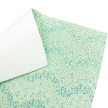 MINT LOVELY LACE - Glitter Fabric