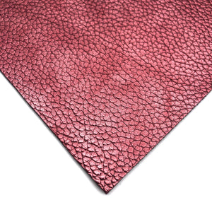 METALLIC BURGUNDY - Soft Litchi Leather