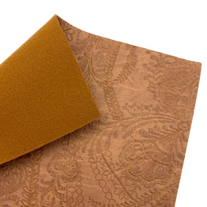 SADDLE BROWN - Embossed Lace Appliqué Leather