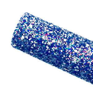 DEEP BLUE DIAMOND DAZZLE - Chunky glitter fabric