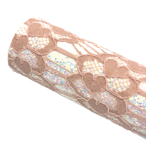 ROSY TAUPE LOVELY LACE - Glitter Fabric