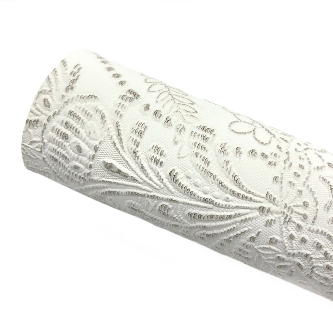 RUSTIC WHITE - Embossed Lace Appliqué Leather