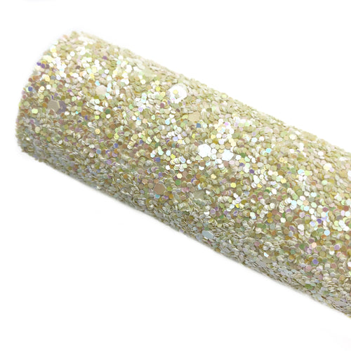 PALE YELLOW SPARKLE - Chunky glitter fabric