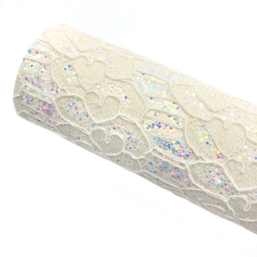 WHITE LOVELY LACE - Glitter Fabric