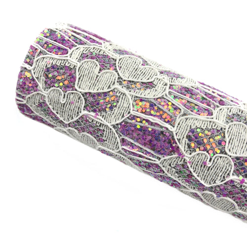 PURPLE LOVELY LACE - Glitter Fabric