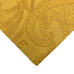 MUSTARD - Embossed Lace Appliqué Leather