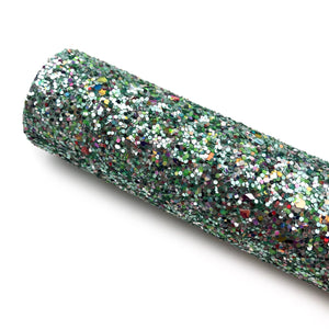 GREEN JEWEL - Chunky glitter fabric