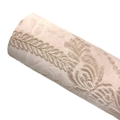 LIGHT PINK - Embossed Lace Appliqué Leather
