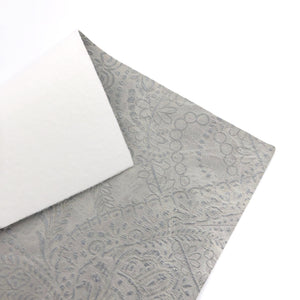 GREY - Embossed Lace Appliqué Leather