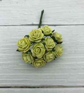 PALE GREEN - Mulberry Paper Flowers (Rose)