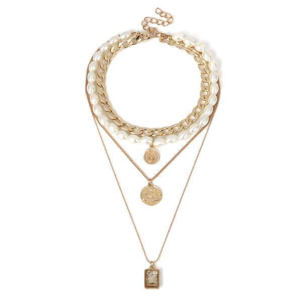 Retro multi-layer pearl clavicle Necklace