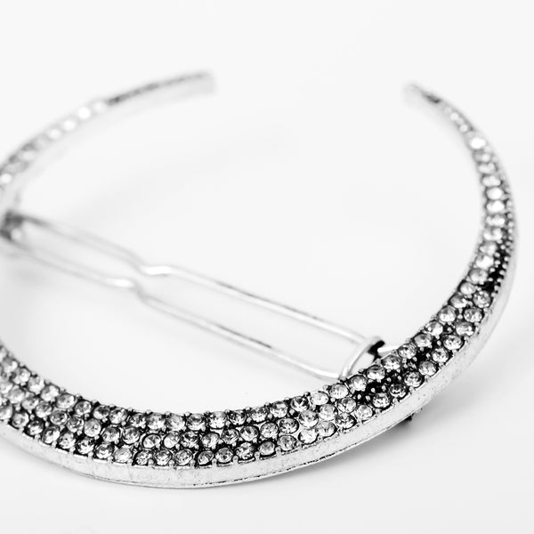Moon star-encrusted diamond hair clip