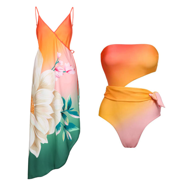 Long Sleeve Dress Green Tropical Beach Vintage Maxi Dress