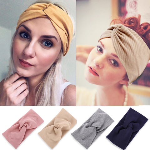 Hairbands with threaded cotton yoga hair bands sports elastic headband