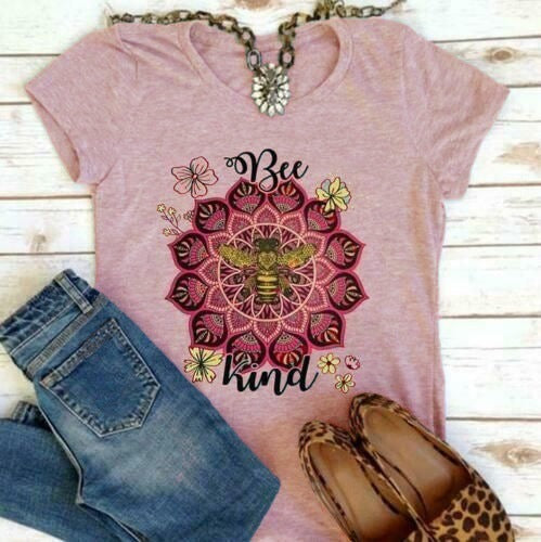 T-shirt short sleeve round neck bee print t-shirt