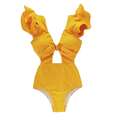 Deep-V-neck Hollow Out Ruffle One Piece YELLOW