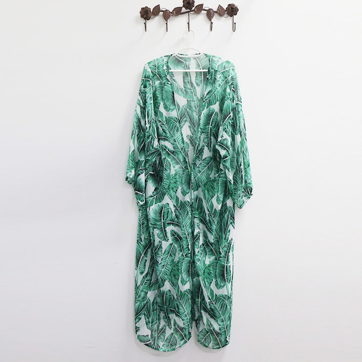 Leaves Print Bikini Beach Cover up(Shipping Immediately )