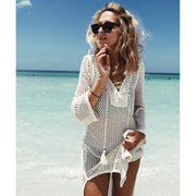 New Beach Cover Up Bikini Crochet Knitted Tassel Tie Beachwear #leidong