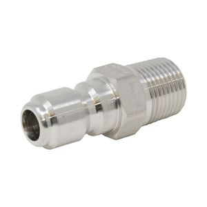 "Quick Coupler Plug - 1/4"" MPT - Stainless Steel - 6000 PSI"